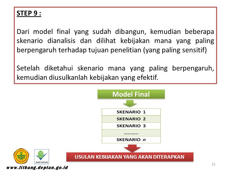 STEP 9 : Dari model final yang sudah dibangun, kemudian beberapa skenario dianalisis dan dilihat kebijakan mana yang paling berpengaruh terhadap tujuan penelitian (yang paling sensitif) Setelah diketahui skenario mana yang paling berpengaruh, kemudian diusulkanlah kebijakan yang efektif.