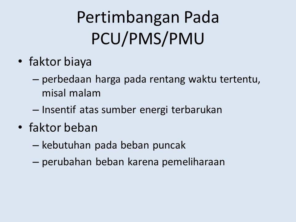 Pertimbangan Pada PCU/PMS/PMU faktor biaya – perbedaan harga pada rentang waktu tertentu, misal malam – Insentif atas sumber energi terbarukan faktor beban – kebutuhan pada beban puncak – perubahan beban karena pemeliharaan