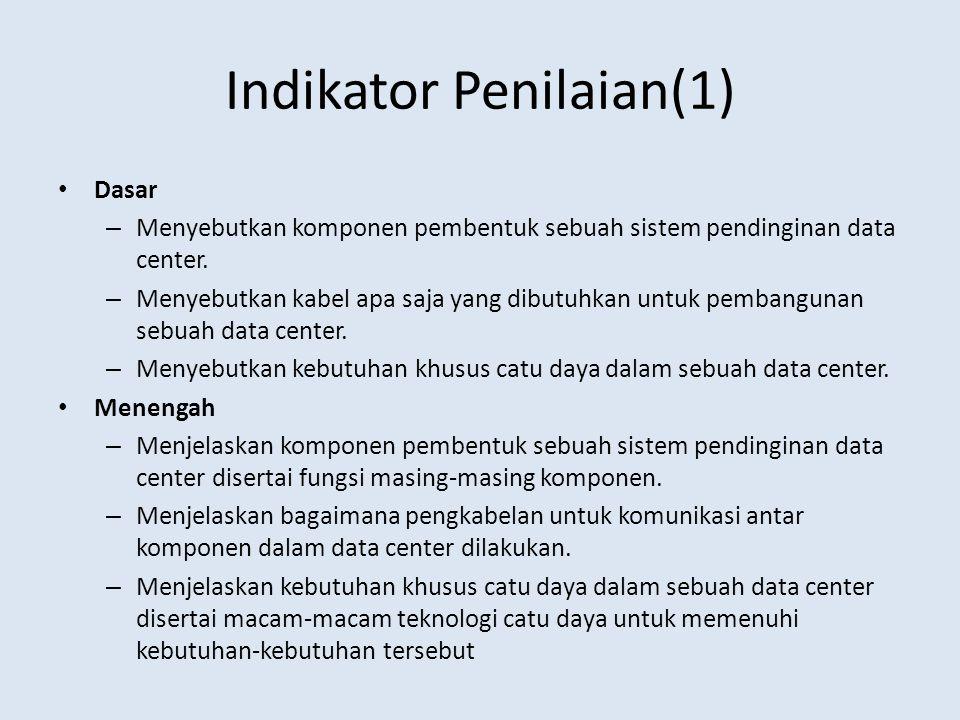 Indikator Penilaian(1) Dasar – Menyebutkan komponen pembentuk sebuah sistem pendinginan data center. – Menyebutkan kabel apa saja yang dibutuhkan untu