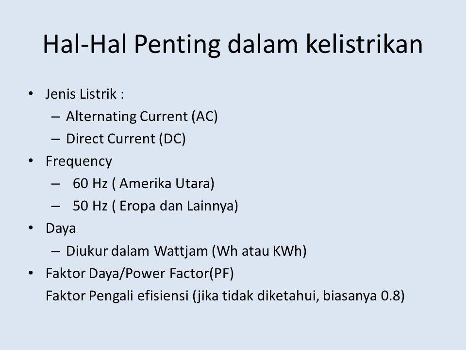 Hal-Hal Penting dalam kelistrikan Jenis Listrik : – Alternating Current (AC) – Direct Current (DC) Frequency – 60 Hz ( Amerika Utara) – 50 Hz ( Eropa dan Lainnya) Daya – Diukur dalam Wattjam (Wh atau KWh) Faktor Daya/Power Factor(PF) Faktor Pengali efisiensi (jika tidak diketahui, biasanya 0.8)