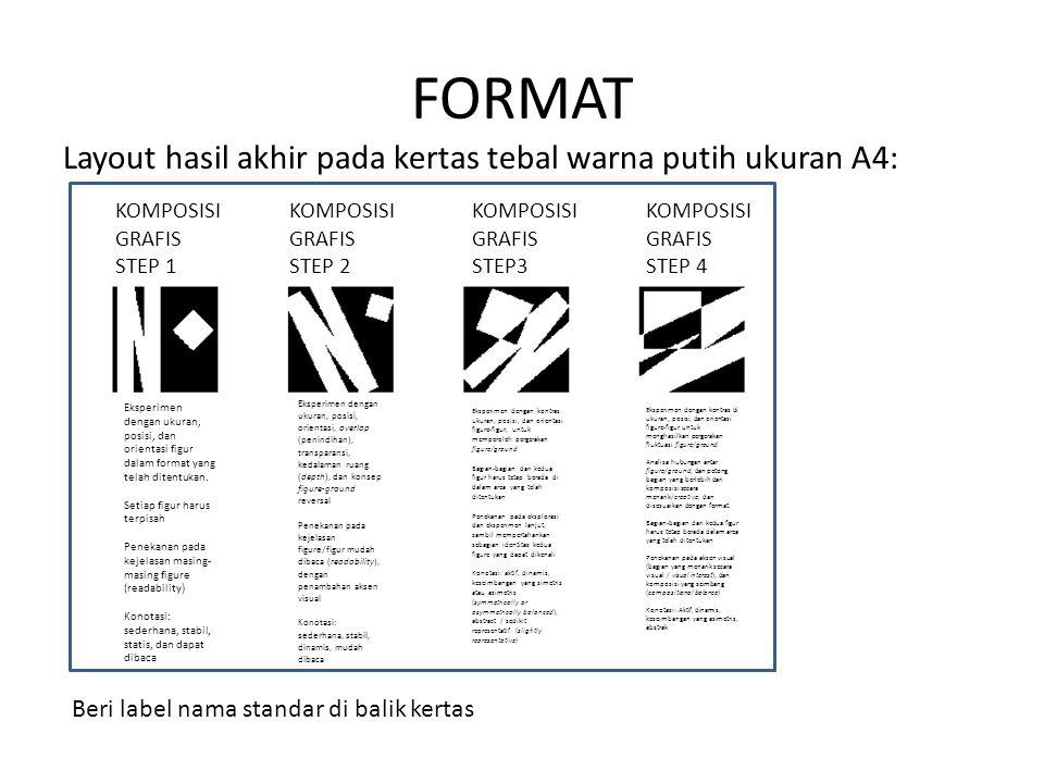 FORMAT Layout hasil akhir pada kertas tebal warna putih ukuran A4: KOMPOSISI GRAFIS STEP 1 KOMPOSISI GRAFIS STEP 2 KOMPOSISI GRAFIS STEP3 KOMPOSISI GR