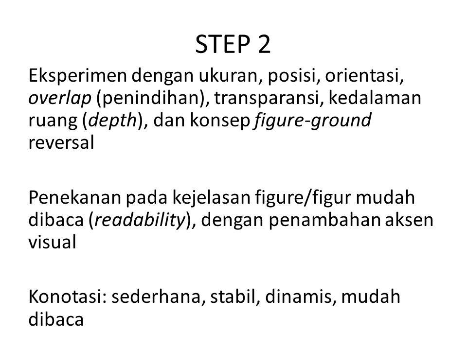 STEP 2 Eksperimen dengan ukuran, posisi, orientasi, overlap (penindihan), transparansi, kedalaman ruang (depth), dan konsep figure-ground reversal Penekanan pada kejelasan figure/figur mudah dibaca (readability), dengan penambahan aksen visual Konotasi: sederhana, stabil, dinamis, mudah dibaca