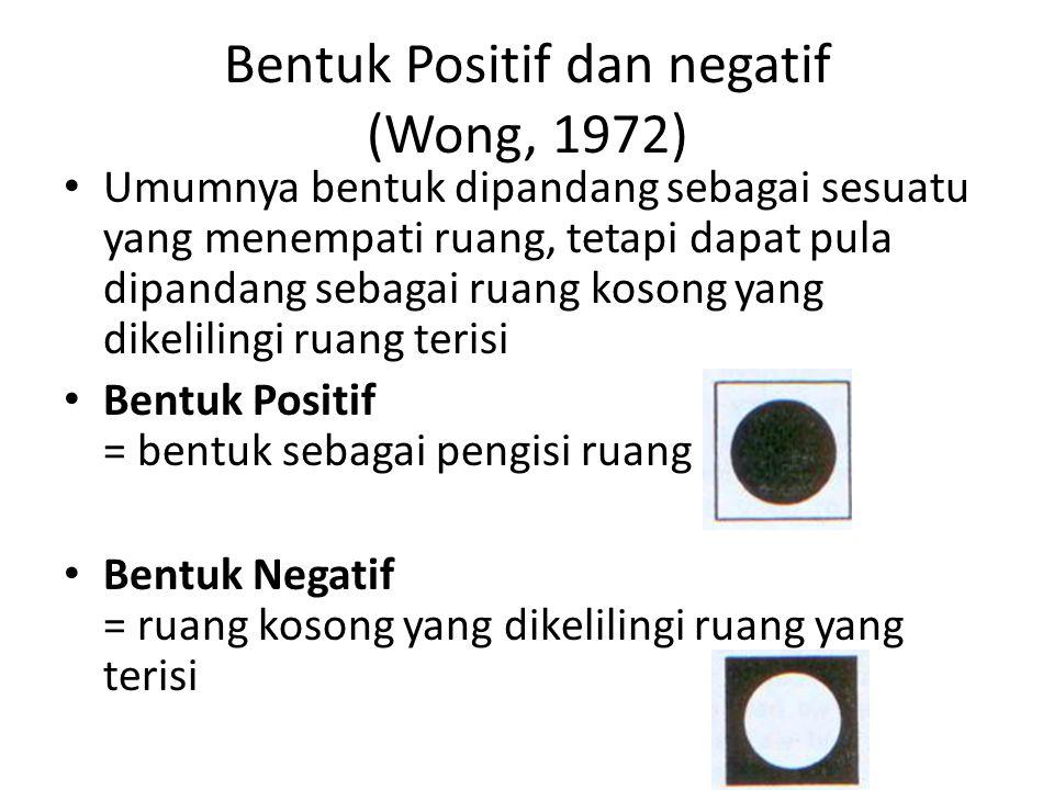 Bentuk Positif dan negatif (Wong, 1972) Umumnya bentuk dipandang sebagai sesuatu yang menempati ruang, tetapi dapat pula dipandang sebagai ruang koson