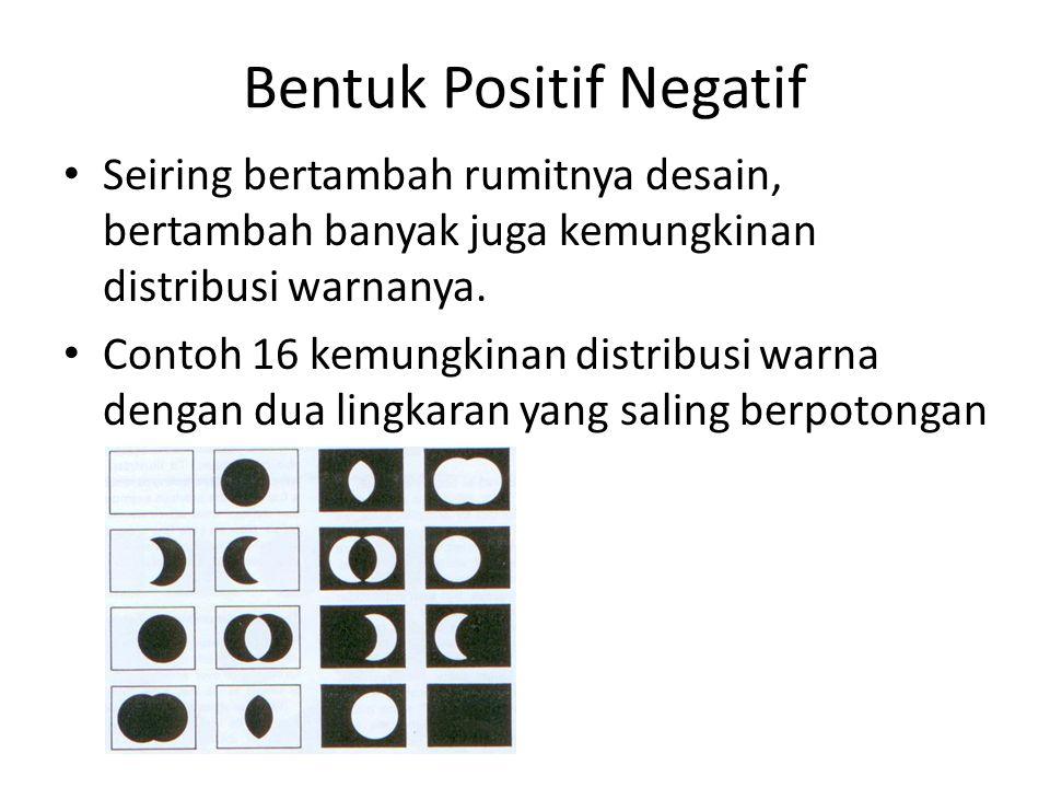 Bentuk Positif Negatif Seiring bertambah rumitnya desain, bertambah banyak juga kemungkinan distribusi warnanya. Contoh 16 kemungkinan distribusi warn
