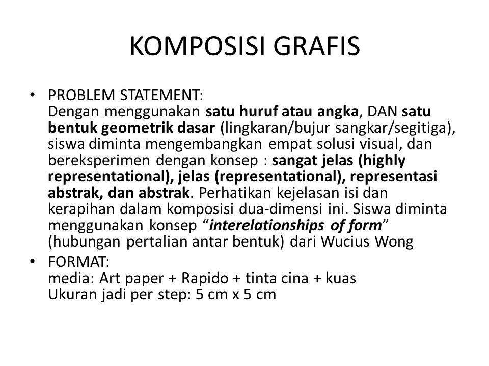 KOMPOSISI GRAFIS PROBLEM STATEMENT: Dengan menggunakan satu huruf atau angka, DAN satu bentuk geometrik dasar (lingkaran/bujur sangkar/segitiga), siswa diminta mengembangkan empat solusi visual, dan bereksperimen dengan konsep : sangat jelas (highly representational), jelas (representational), representasi abstrak, dan abstrak.