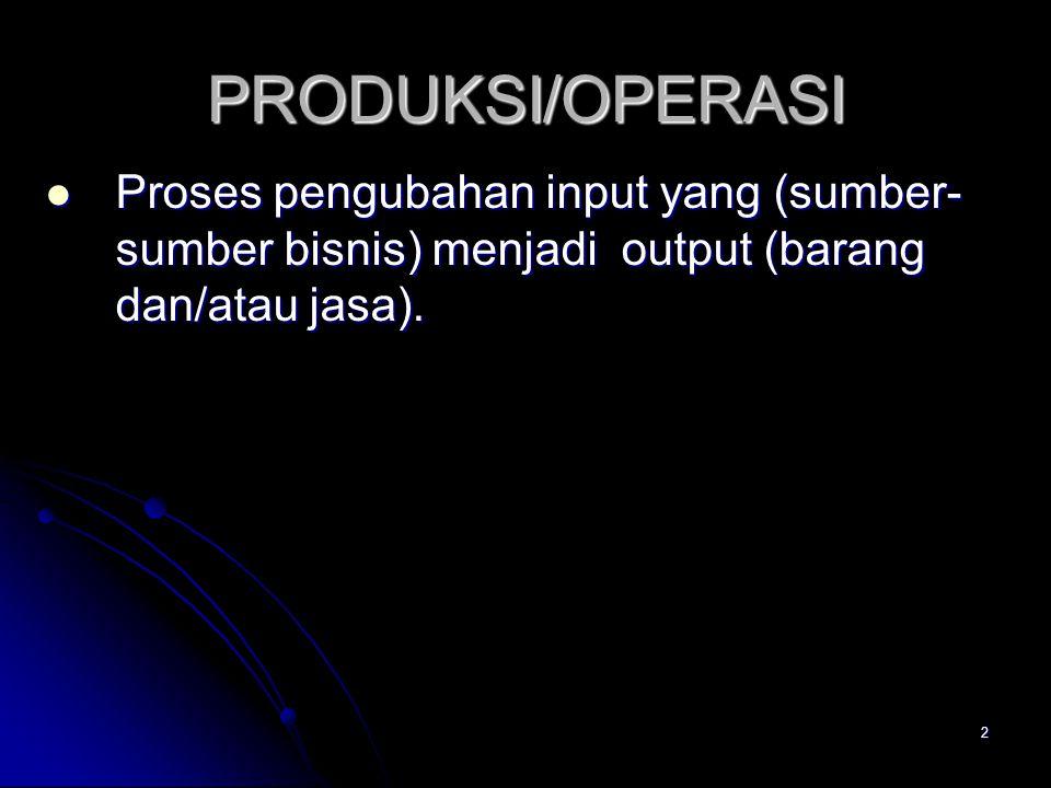 2 PRODUKSI/OPERASI Proses pengubahan input yang (sumber- sumber bisnis) menjadi output (barang dan/atau jasa). Proses pengubahan input yang (sumber- s