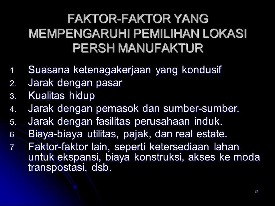 24 FAKTOR-FAKTOR YANG MEMPENGARUHI PEMILIHAN LOKASI PERSH MANUFAKTUR 1.