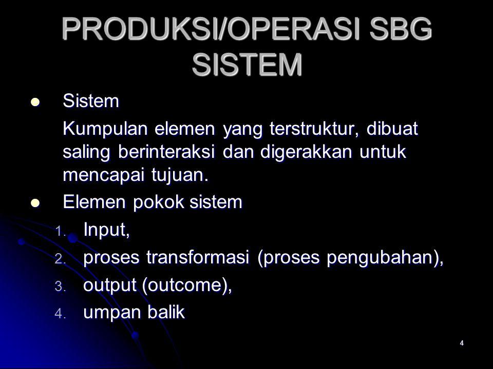 4 PRODUKSI/OPERASI SBG SISTEM Sistem Sistem Kumpulan elemen yang terstruktur, dibuat saling berinteraksi dan digerakkan untuk mencapai tujuan. Elemen
