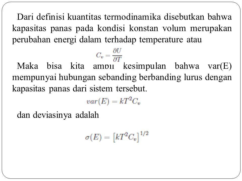 Dari definisi kuantitas termodinamika disebutkan bahwa kapasitas panas pada kondisi konstan volum merupakan perubahan energi dalam terhadap temperatur