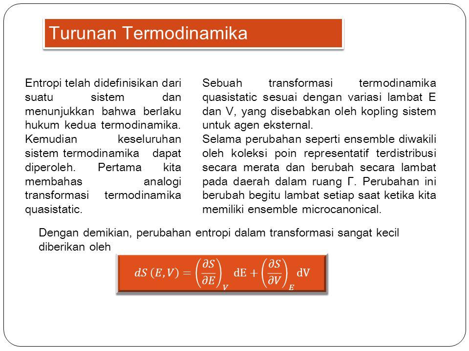 Turunan Termodinamika Entropi telah didefinisikan dari suatu sistem dan menunjukkan bahwa berlaku hukum kedua termodinamika. Kemudian keseluruhan sist