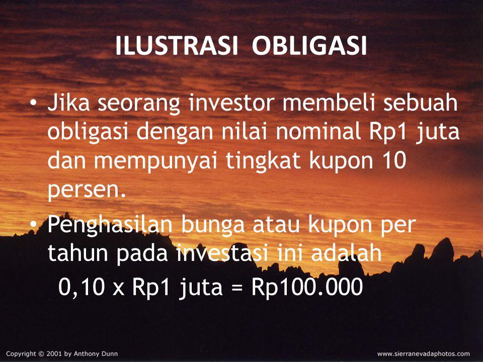 ILUSTRASI OBLIGASI Jika seorang investor membeli sebuah obligasi dengan nilai nominal Rp1 juta dan mempunyai tingkat kupon 10 persen. Penghasilan bung