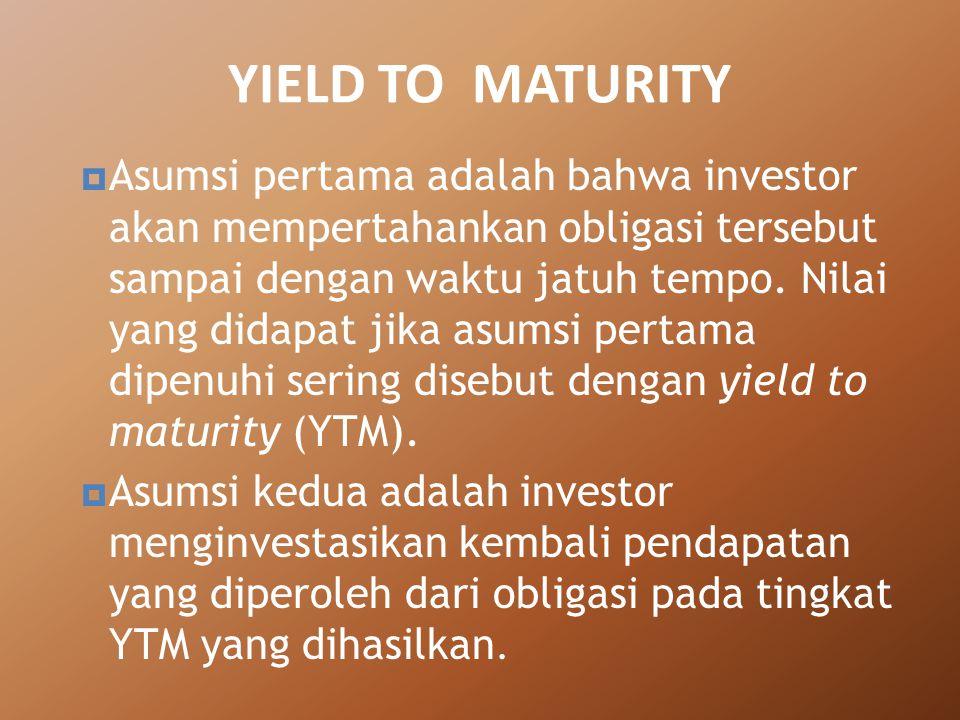 AAsumsi pertama adalah bahwa investor akan mempertahankan obligasi tersebut sampai dengan waktu jatuh tempo. Nilai yang didapat jika asumsi pertama