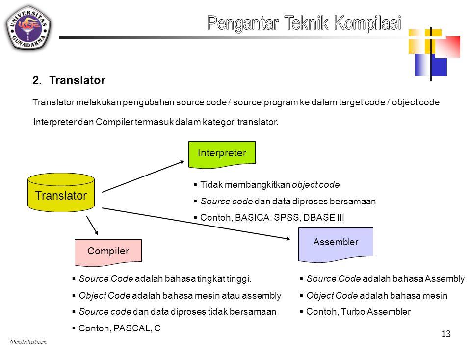 Pendahuluan 13 2. Translator Translator melakukan pengubahan source code / source program ke dalam target code / object code Interpreter dan Compiler