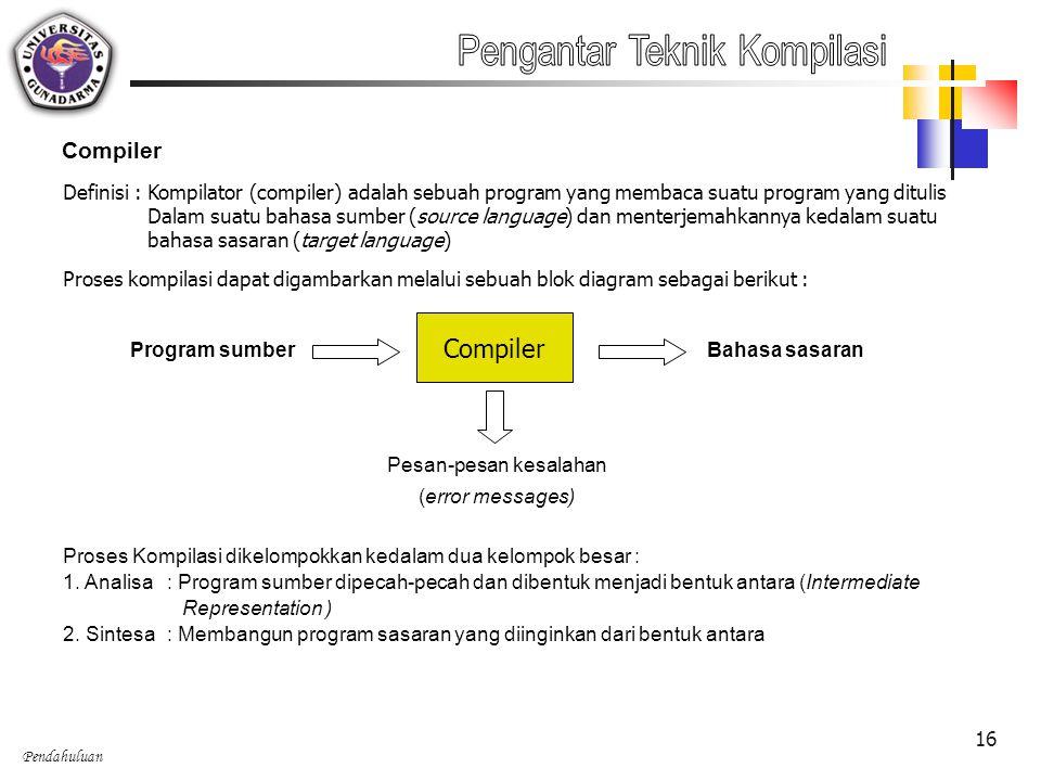 Pendahuluan 16 Compiler Definisi : Kompilator (compiler) adalah sebuah program yang membaca suatu program yang ditulis Dalam suatu bahasa sumber (sour