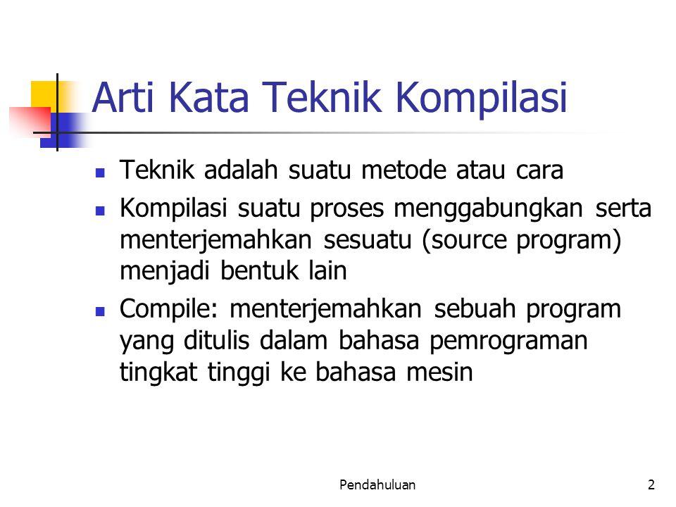 Arti Kata Teknik Kompilasi Teknik adalah suatu metode atau cara Kompilasi suatu proses menggabungkan serta menterjemahkan sesuatu (source program) men
