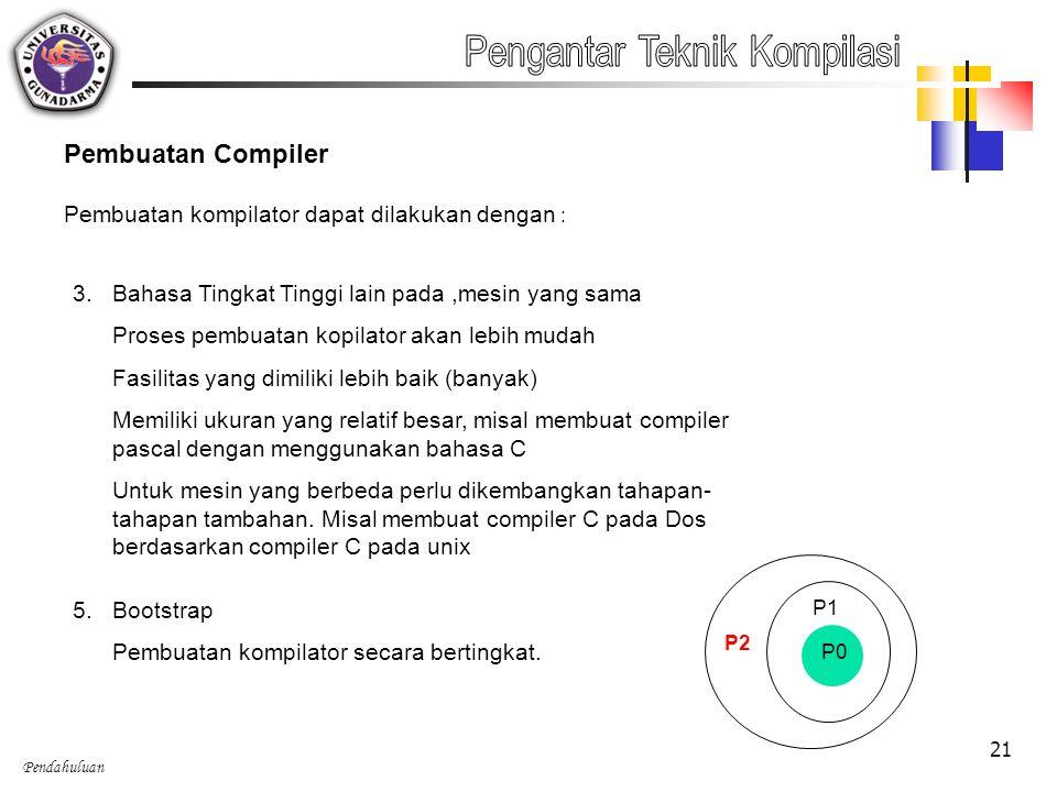 Pendahuluan 21 Pembuatan Compiler Pembuatan kompilator dapat dilakukan dengan : 3.Bahasa Tingkat Tinggi lain pada,mesin yang sama Proses pembuatan kop