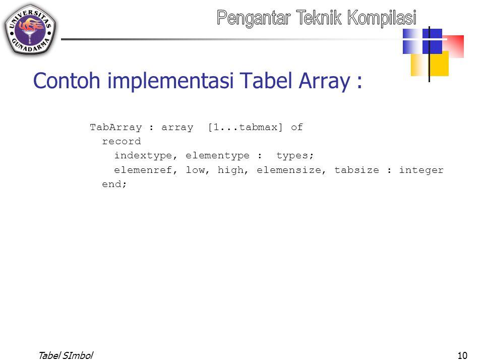 Tabel SImbol10 Contoh implementasi Tabel Array : TabArray : array [1...tabmax] of record indextype, elementype : types; elemenref, low, high, elemensi
