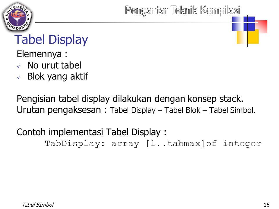 Tabel SImbol16 Tabel Display Elemennya : No urut tabel Blok yang aktif Pengisian tabel display dilakukan dengan konsep stack. Urutan pengaksesan : Tab