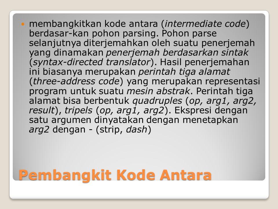 Pembangkit Kode Antara membangkitkan kode antara (intermediate code) berdasar-kan pohon parsing. Pohon parse selanjutnya diterjemahkan oleh suatu pene