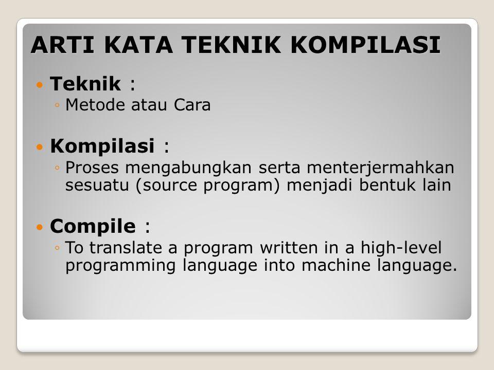 ARTI KATA TEKNIK KOMPILASI Teknik : ◦Metode atau Cara Kompilasi : ◦Proses mengabungkan serta menterjermahkan sesuatu (source program) menjadi bentuk l