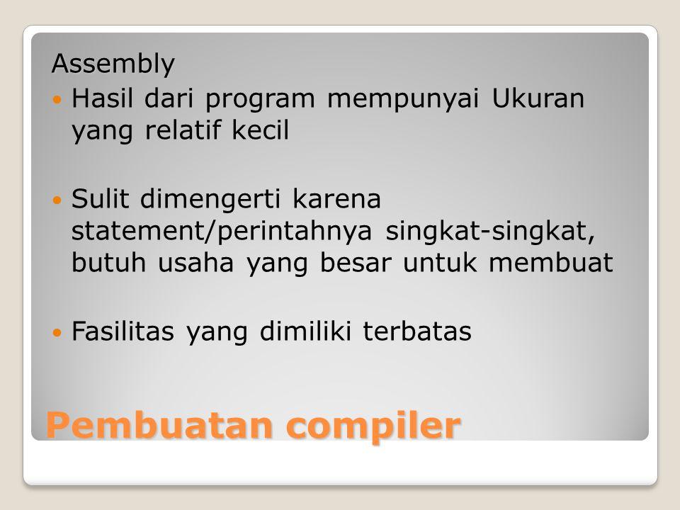 Pembuatan compiler Assembly Hasil dari program mempunyai Ukuran yang relatif kecil Sulit dimengerti karena statement/perintahnya singkat-singkat, butu