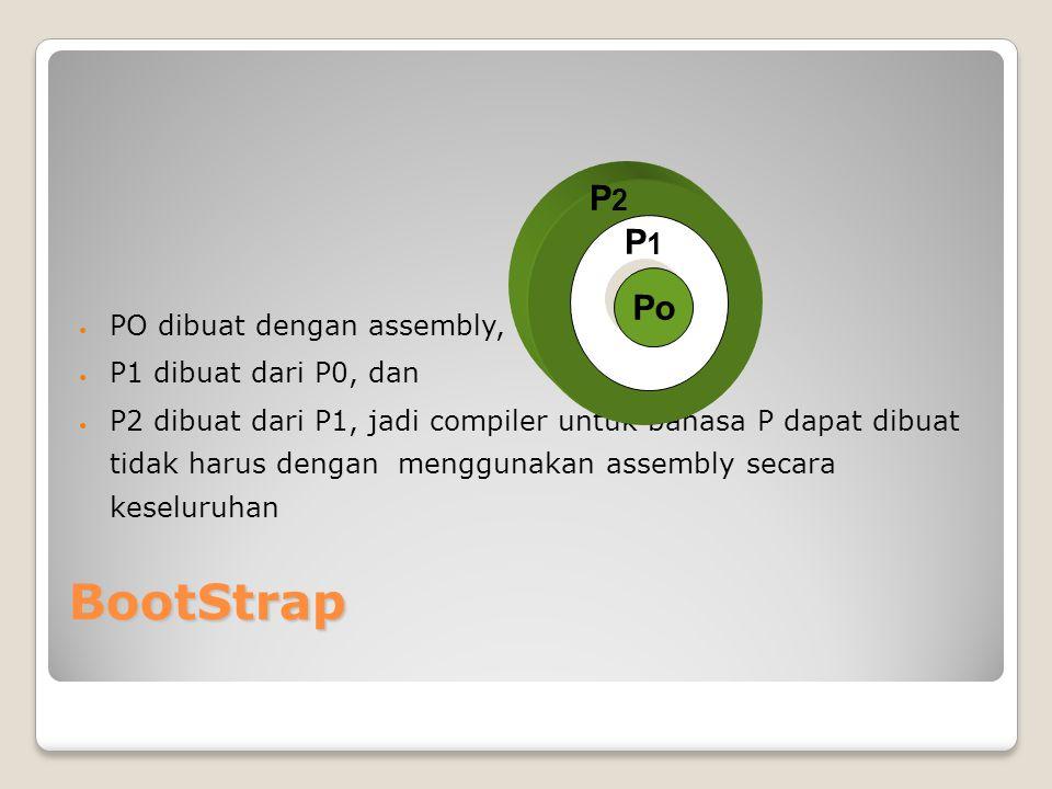 BootStrap PO dibuat dengan assembly, P1 dibuat dari P0, dan P2 dibuat dari P1, jadi compiler untuk bahasa P dapat dibuat tidak harus dengan menggunaka
