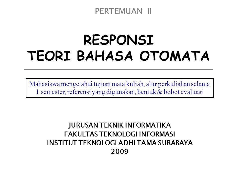 RESPONSI TEORI BAHASA OTOMATA JURUSAN TEKNIK INFORMATIKA FAKULTAS TEKNOLOGI INFORMASI INSTITUT TEKNOLOGI ADHI TAMA SURABAYA 2009 PERTEMUAN II Mahasisw