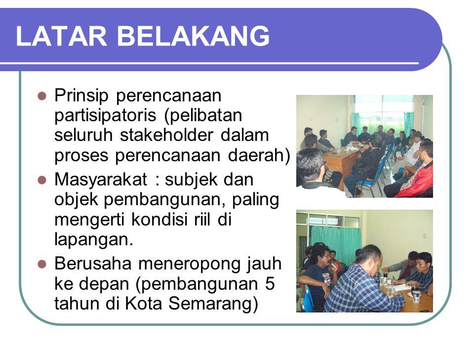 LATAR BELAKANG Prinsip perencanaan partisipatoris (pelibatan seluruh stakeholder dalam proses perencanaan daerah) Masyarakat : subjek dan objek pemban