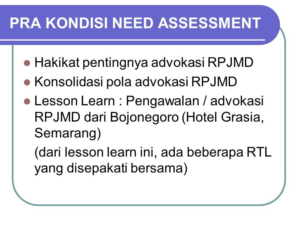 PRA KONDISI NEED ASSESSMENT Hakikat pentingnya advokasi RPJMD Konsolidasi pola advokasi RPJMD Lesson Learn : Pengawalan / advokasi RPJMD dari Bojonego