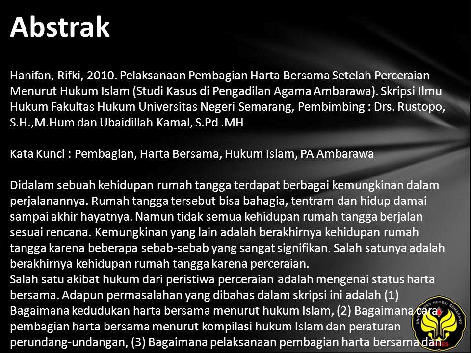 Kata Kunci Pembagian, Harta Bersama, Hukum Islam, PA Ambarawa