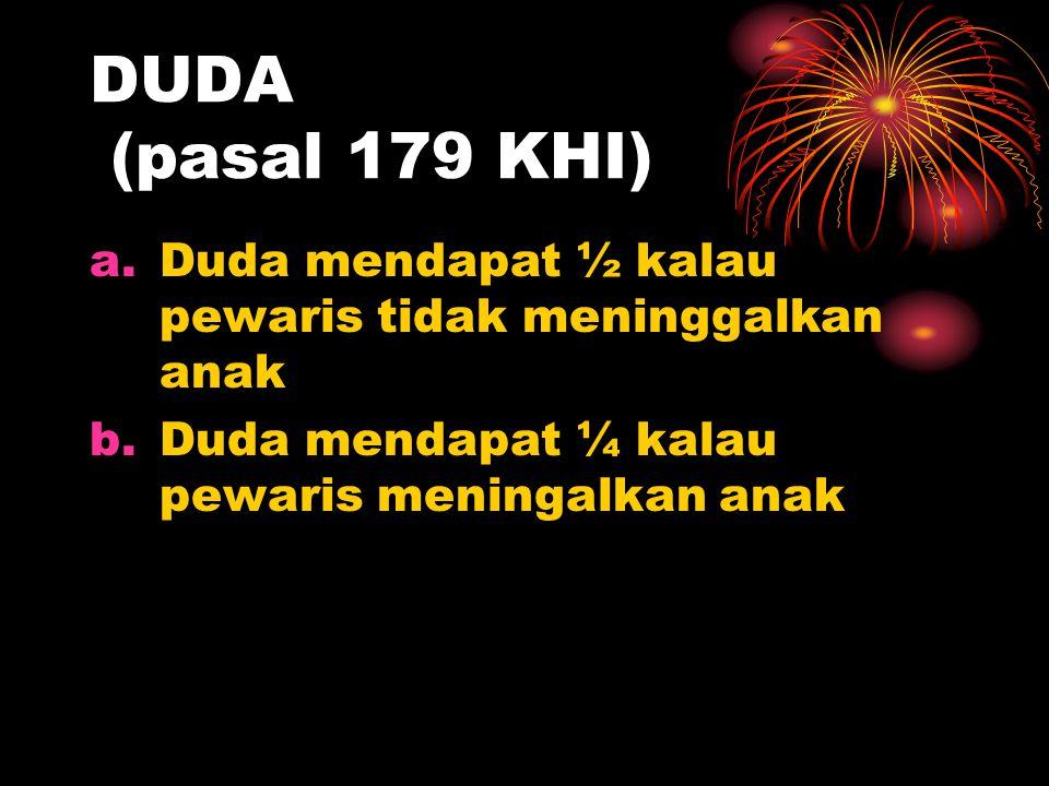 DUDA (pasal 179 KHI) a.Duda mendapat ½ kalau pewaris tidak meninggalkan anak b.Duda mendapat ¼ kalau pewaris meningalkan anak