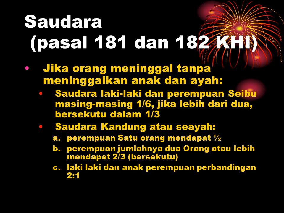 Janda (pasal 180 KHI) a.Janda mendapat ¼ (bersekutu) jika pewaris tidak meninggalkan anak b.Janda mendapat 1/8 (bersekutu) jika pewaris meninggalkan a