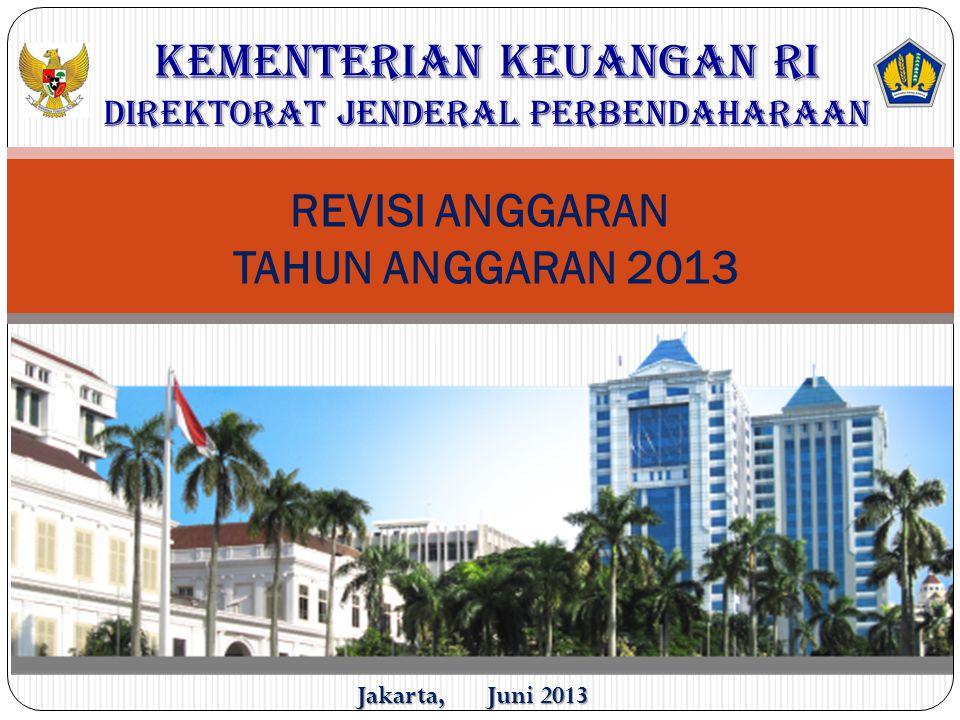 REVISI ANGGARAN TAHUN ANGGARAN 2013 KEMENTERIAN KEUANGAN RI DIREKTORAT JENDERAL PERBENDAHARAAN Jakarta, Juni 2013