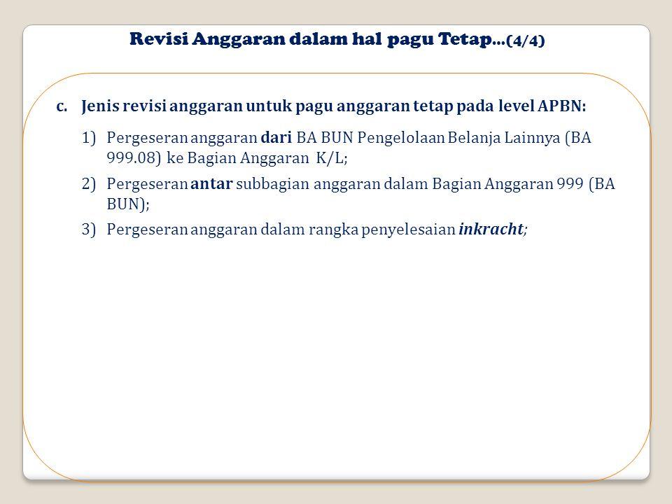 Revisi Anggaran dalam hal pagu Tetap …(4/4) c.Jenis revisi anggaran untuk pagu anggaran tetap pada level APBN: 1)Pergeseran anggaran dari BA BUN Pengelolaan Belanja Lainnya (BA 999.08) ke Bagian Anggaran K/L; 2)Pergeseran antar subbagian anggaran dalam Bagian Anggaran 999 (BA BUN); 3)Pergeseran anggaran dalam rangka penyelesaian inkracht;