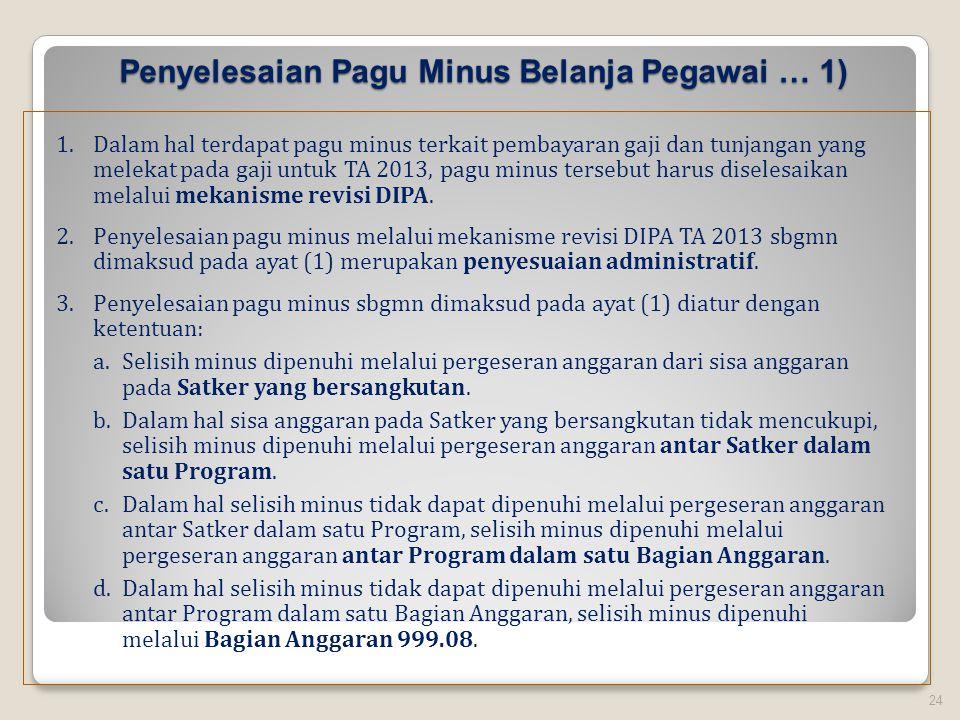 Penyelesaian Pagu Minus Belanja Pegawai … 1) 24 1.Dalam hal terdapat pagu minus terkait pembayaran gaji dan tunjangan yang melekat pada gaji untuk TA 2013, pagu minus tersebut harus diselesaikan melalui mekanisme revisi DIPA.