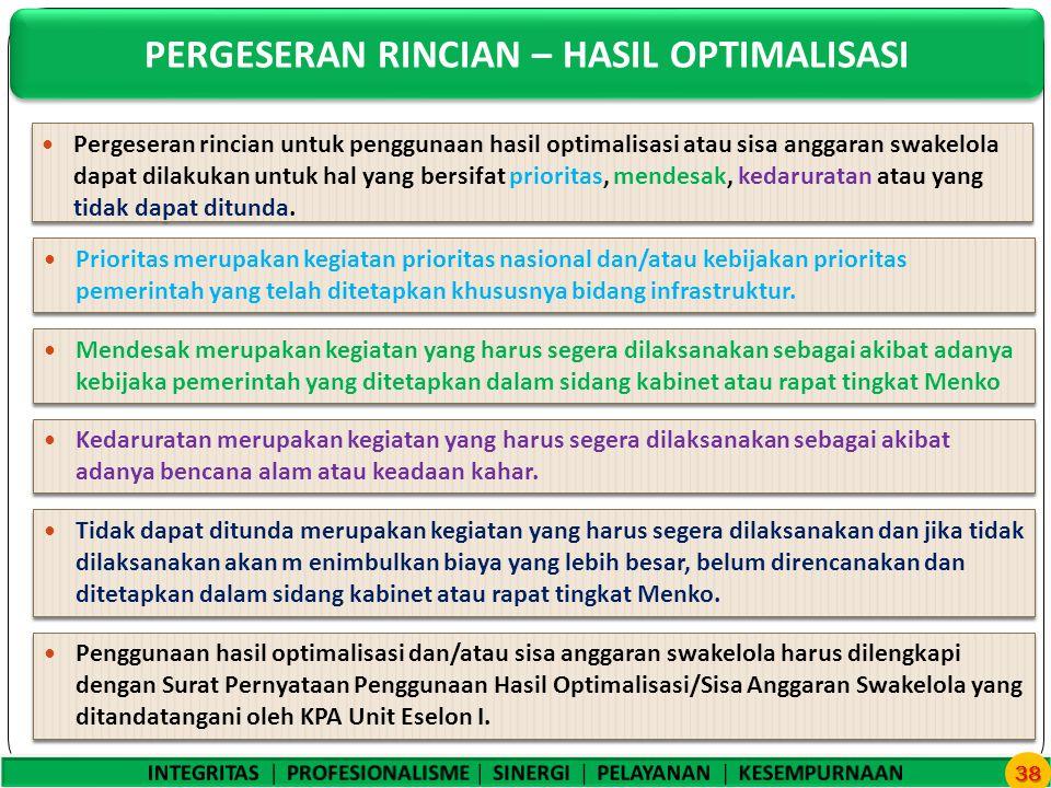 PERGESERAN RINCIAN – HASIL OPTIMALISASI 38 Pergeseran rincian untuk penggunaan hasil optimalisasi atau sisa anggaran swakelola dapat dilakukan untuk hal yang bersifat prioritas, mendesak, kedaruratan atau yang tidak dapat ditunda.