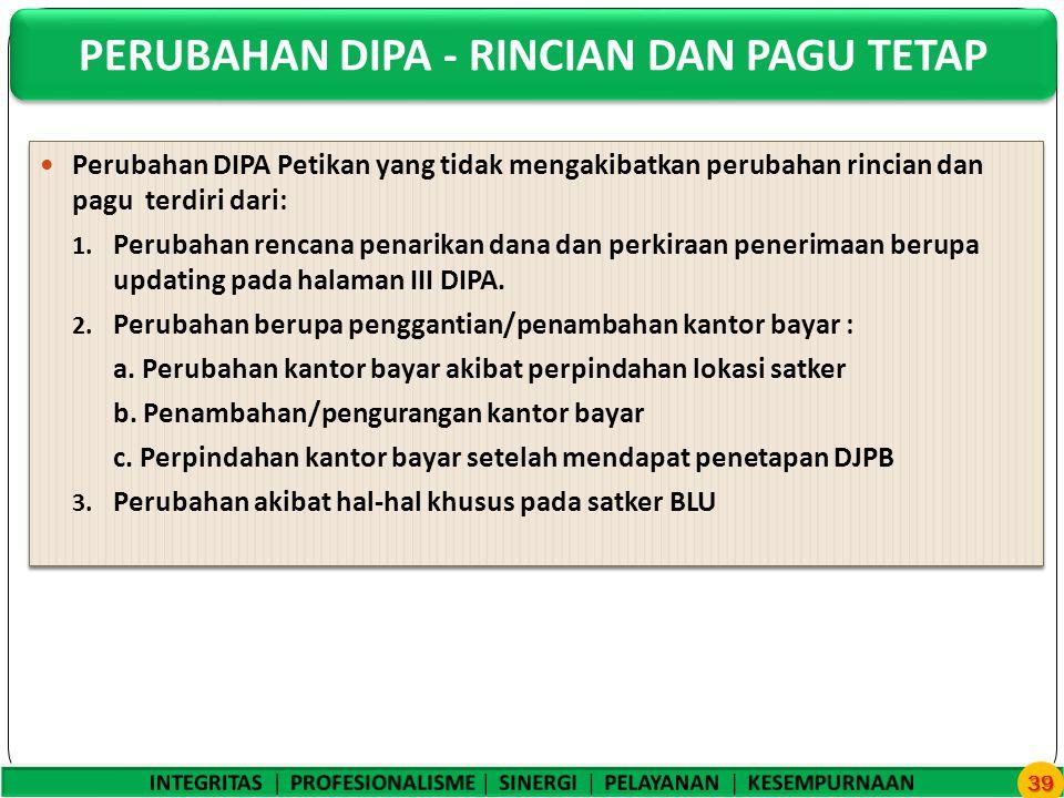 Perubahan DIPA Petikan yang tidak mengakibatkan perubahan rincian dan pagu terdiri dari: 1.
