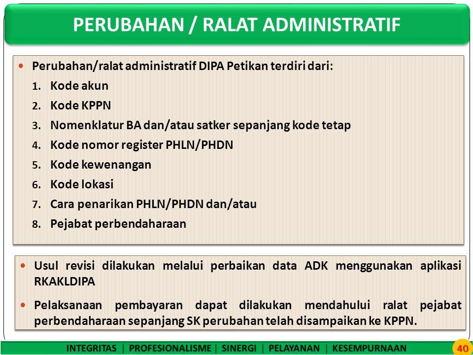 Perubahan/ralat administratif DIPA Petikan terdiri dari: 1.
