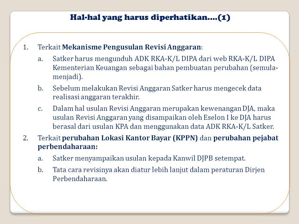Hal-hal yang harus diperhatikan….(1) 1.Terkait Mekanisme Pengusulan Revisi Anggaran: a.Satker harus mengunduh ADK RKA-K/L DIPA dari web RKA-K/L DIPA Kementerian Keuangan sebagai bahan pembuatan perubahan (semula- menjadi).