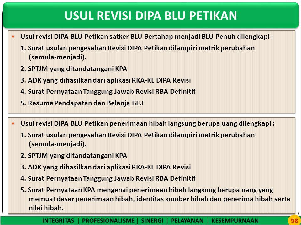 USUL REVISI DIPA BLU PETIKAN 56 Usul revisi DIPA BLU Petikan satker BLU Bertahap menjadi BLU Penuh dilengkapi : 1.