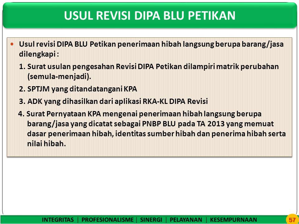 USUL REVISI DIPA BLU PETIKAN 57 Usul revisi DIPA BLU Petikan penerimaan hibah langsung berupa barang/jasa dilengkapi : 1.