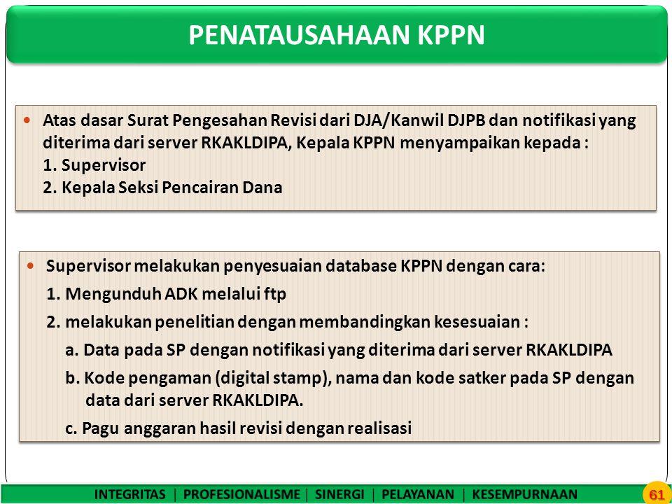 PENATAUSAHAAN KPPN 61 Atas dasar Surat Pengesahan Revisi dari DJA/Kanwil DJPB dan notifikasi yang diterima dari server RKAKLDIPA, Kepala KPPN menyampaikan kepada : 1.