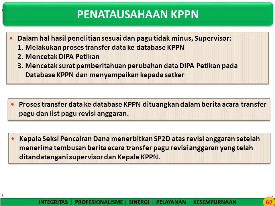 PENATAUSAHAAN KPPN 62 Dalam hal hasil penelitian sesuai dan pagu tidak minus, Supervisor: 1.