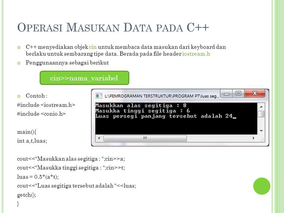 O PERASI M ASUKAN D ATA PADA C++ C++ menyediakan objek cin untuk membaca data masukan dari keyboard dan berlaku untuk sembarang tipe data. Berada pada