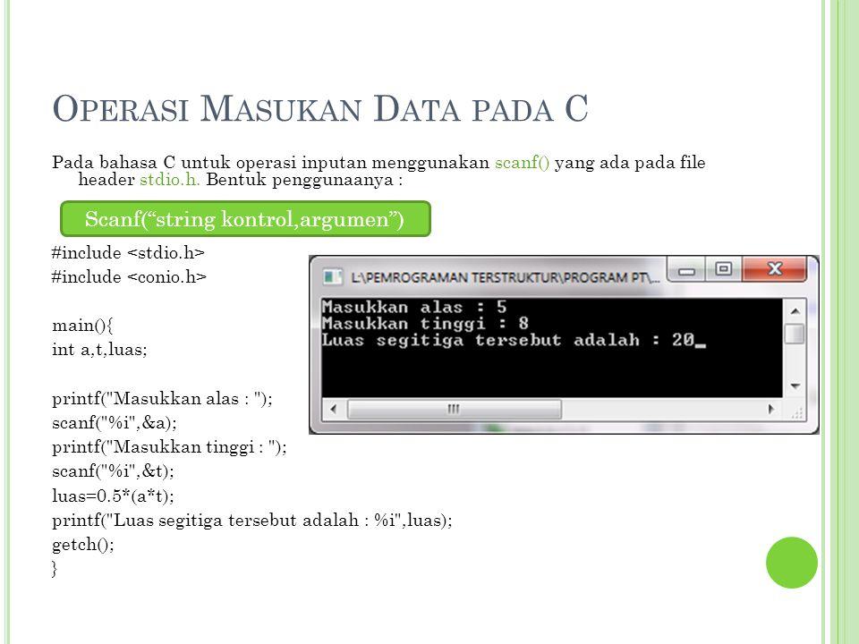 O PERASI M ASUKAN D ATA PADA C Pada bahasa C untuk operasi inputan menggunakan scanf() yang ada pada file header stdio.h. Bentuk penggunaanya : #inclu