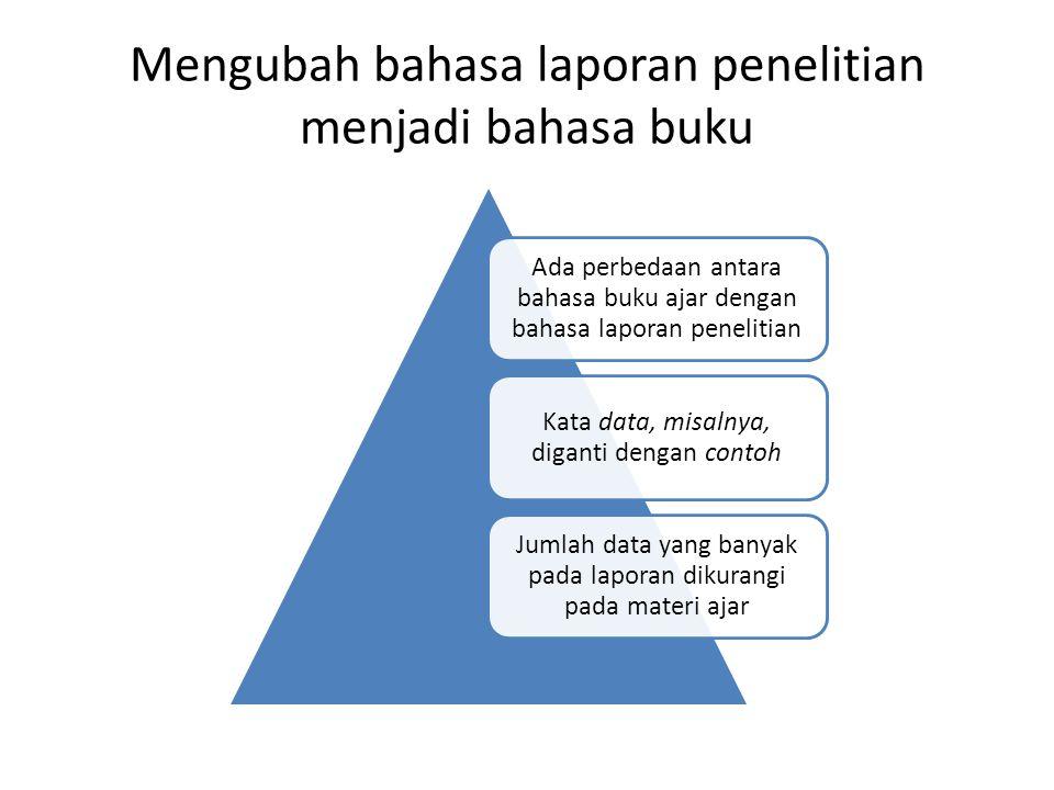 Contoh bahasa laporan penelitian Data (47) Terjemahan Surat As-Saff (61): 2 Hai orang-orang yang beriman, mengapa kamu mengatakan apa yang tidak kamu perbuat .