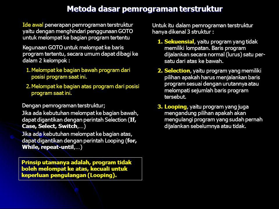 Metoda dasar pemrograman terstruktur Ide awal penerapan pemrograman terstruktur yaitu dengan menghindari penggunaan GOTO untuk melompat ke bagian prog