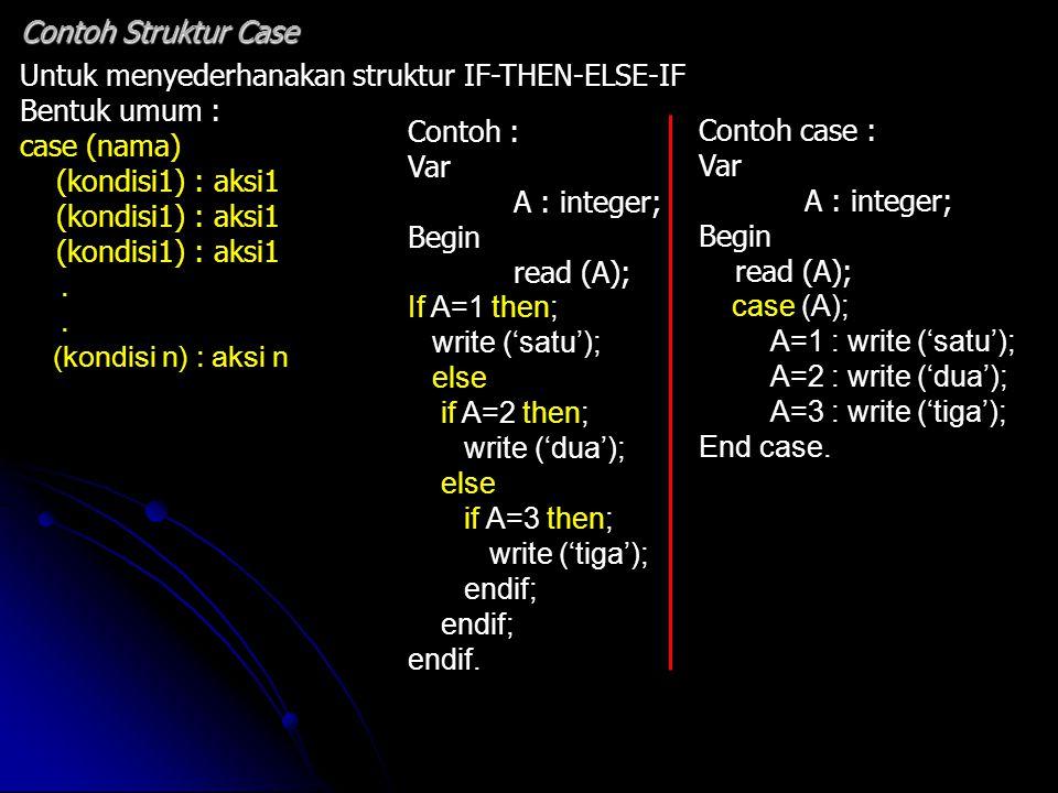 Untuk menyederhanakan struktur IF-THEN-ELSE-IF Bentuk umum : case (nama) (kondisi1) : aksi1. (kondisi n) : aksi n Contoh Struktur Case Contoh : Var A