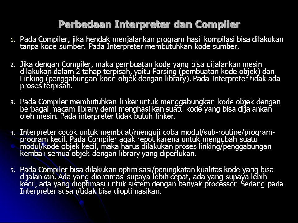 Perbedaan Interpreter dan Compiler 1. 1. Pada Compiler, jika hendak menjalankan program hasil kompilasi bisa dilakukan tanpa kode sumber. Pada Interpr