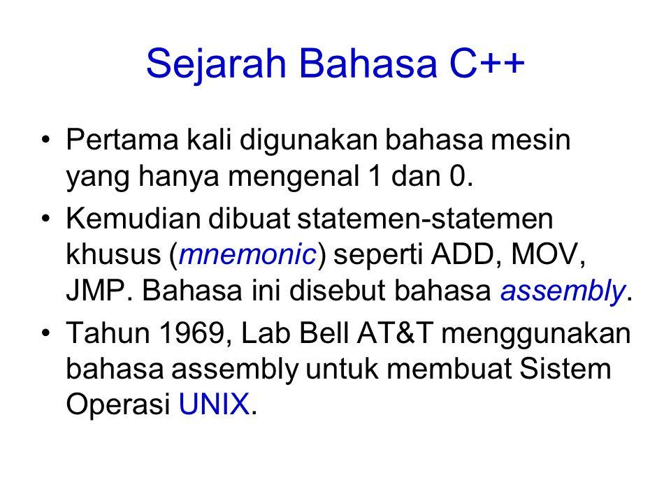 Sejarah Bahasa C++ Pertama kali digunakan bahasa mesin yang hanya mengenal 1 dan 0. Kemudian dibuat statemen-statemen khusus (mnemonic) seperti ADD, M
